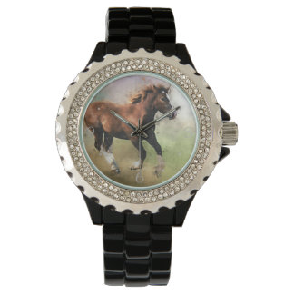 Cantering foal art watches