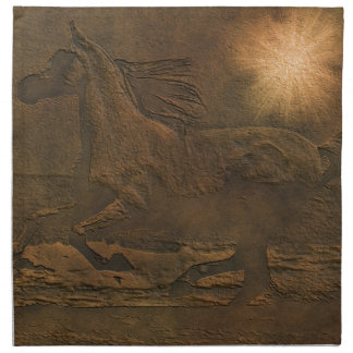 Cantering Wild Spirited Horse Faux Leather-effect Napkin
