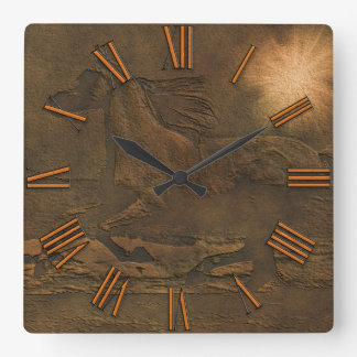 Cantering Wild Spirited Horse in Faux Leather Square Wall Clock
