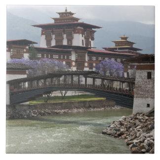 Cantilevered bridge near Punakha Dzong palace Tile