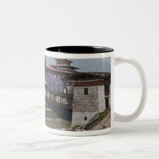 Cantilevered bridge near Punakha Dzong palace Two-Tone Coffee Mug