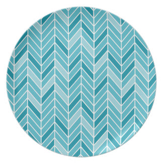 Cantilevered Chevron narrow | caspian blue Plate