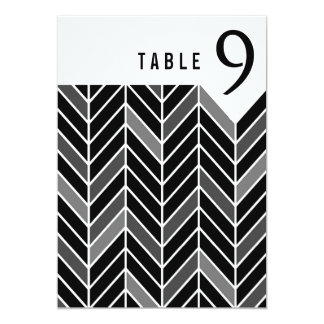 Cantilevered Chevron Table Numbers | black 13 Cm X 18 Cm Invitation Card