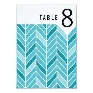 Cantilevered Chevron Table Numbers | blue 13 Cm X 18 Cm Invitation Card