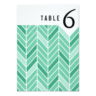Cantilevered Chevron Table Numbers | mint green 13 Cm X 18 Cm Invitation Card