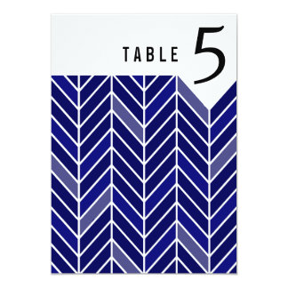 Cantilevered Chevron Table Numbers | navy blue 13 Cm X 18 Cm Invitation Card