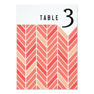 Cantilevered Chevron Table Numbers | peach 13 Cm X 18 Cm Invitation Card
