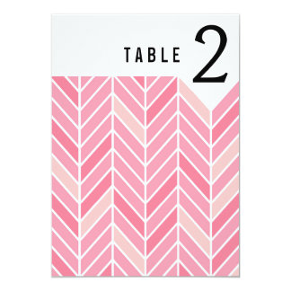 Cantilevered Chevron Table Numbers | pink 13 Cm X 18 Cm Invitation Card