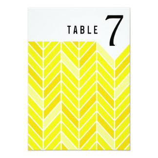 Cantilevered Chevron Table Numbers | yellow 13 Cm X 18 Cm Invitation Card