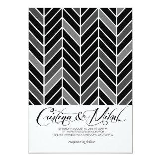 Cantilevered Chevron Wedding   black 13 Cm X 18 Cm Invitation Card