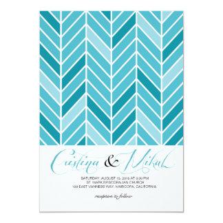 Cantilevered Chevron Wedding   blue 13 Cm X 18 Cm Invitation Card