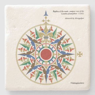 Cantino Compass Rose Stone Coaster
