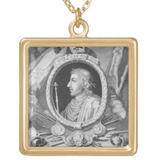 Canute the Great (d.1035) King of England, Denmark Square Pendant Necklace