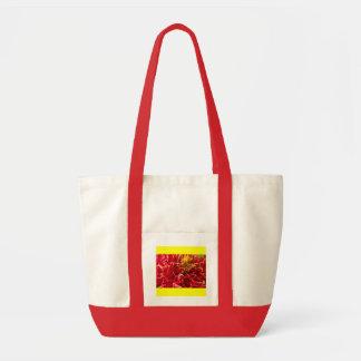 Canvas Bag, Dahlia # 190, Red trim, yellow Impulse Tote Bag