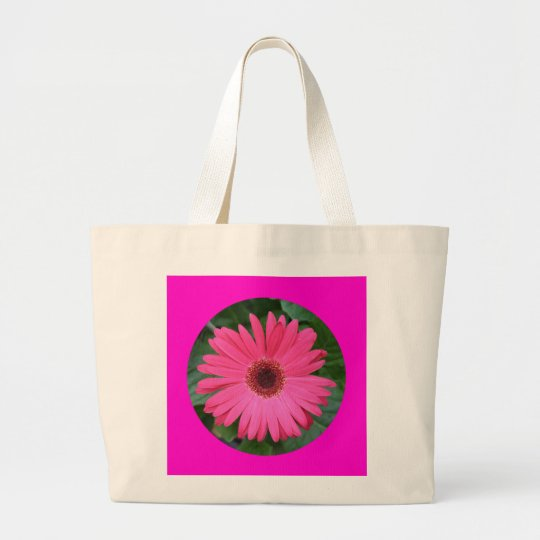 Canvas Bag, Pink African DaisyCIRCLE_B-1 Large Tote Bag