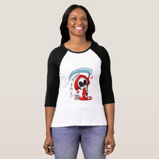 Canvas Black Sleeved T-Shirt, Grim Reader in Red T-Shirt