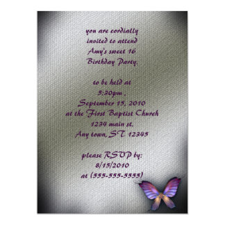 Canvas Butterfly Gothic Birthday Invitation