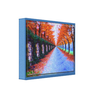 Canvas: Elliptical Autumn Pathway Painting Stretched Canvas Print