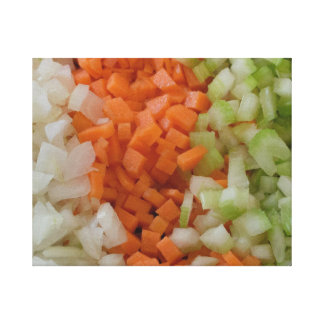 Canvas food art. Onion, carrots and celery. Canvas Print