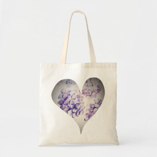 Canvas Grocery Tote  Violet Hydrangea Heart
