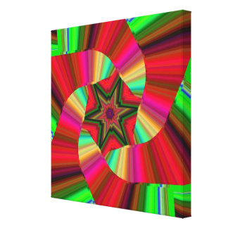 Canvas Kaleidoscope Star Art Red Green Stretched Canvas Prints