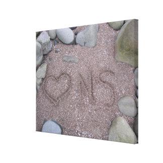 Canvas Love Nova Scotia Heart drawn in sand Canvas Prints