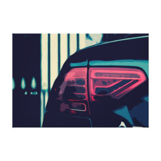 Canvas of the Tail Lights of a Black Car