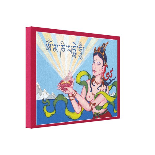 CANVAS - Offering Goddess with Tibetan Mantra Canvas