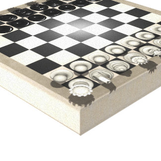 Canvas Print: Chess Pieces on a Chessboard Gallery Wrapped Canvas