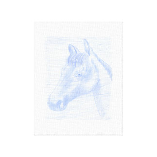 Canvas Print drawing of Blue and White Horse
