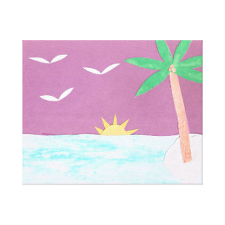 Canvas Print of Palm Tree and Magenta Sky