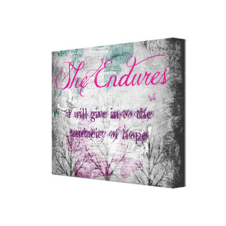 Canvas She Endures Stretched Canvas Print