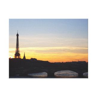 Canvas: Sunset in Paris Canvas Print