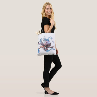 Canvas Tote Bag with Octopus Illustration