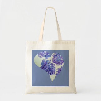 Canvas Tote Hydrangea Heart - Blue