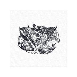 canvas - town center in 3 POINT perspective Canvas Print