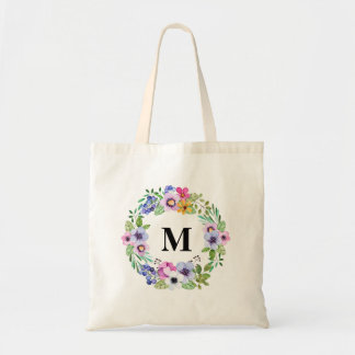 Canvas Watercolor Floral Personalised welcome Tote Bag