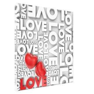Canvas with love word stretched canvas print