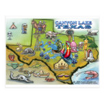 Canyon Lake TEXAS Map Postcards