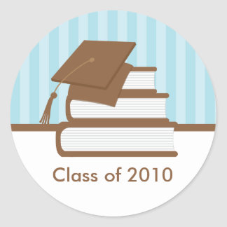 Cap and Books Graduation Address Label Round Sticker
