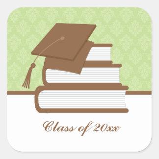 Cap and Books Graduation Square Sticker