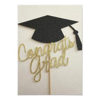 Cap and congrats grad on graduation invitation