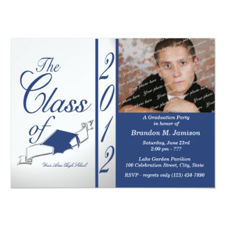 Cap and Tassel Class Graduation 2012/ Blue 14 Cm X 19 Cm Invitation Card