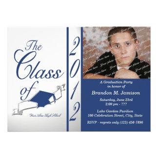 Cap and Tassel Class Graduation 2012 Blue Invite