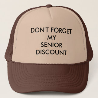 CAP, BROWN, SENIOR DISCOUNT TRUCKER HAT
