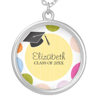 Cap & Dots Graduation Round Silver Plated Necklace