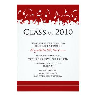 "Cap & Gown 2011 Graduation Announcement (red) 5"" X 7"" Invitation Card"