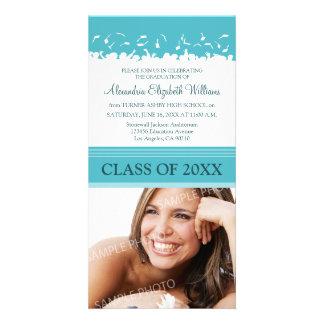 Cap & Gown Graduation Announcement (aqua) Personalized Photo Card