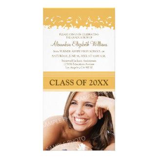 Cap & Gown Graduation Announcement (gold) Customized Photo Card