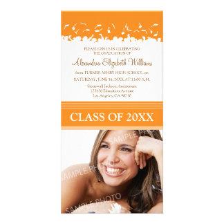 Cap & Gown Graduation Announcement (orange) Personalised Photo Card
